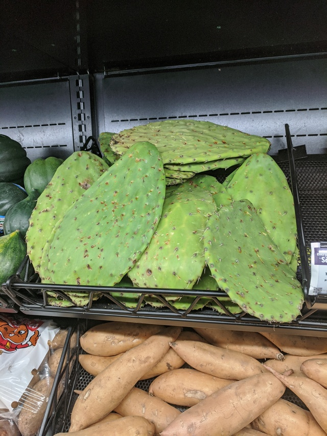 Some cactus flat pieces in the produce section at Broulim's.